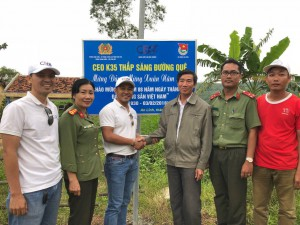Help to build library and install street lights during a CEOK35 charitable event in Phu Yen